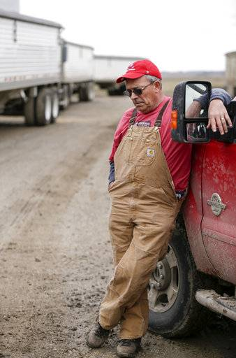 In this Tuesday, April 4, 2017, photo, Blake Hurst, a corn and soybean farmer and president of the Missouri Farm Bureau, leans against a truck on his farm in Westboro, Mo. U.S. President Donald Trump has vowed to redo the North American Free Trade Agreement, but NAFTA has widened access to Mexican and Canadian markets, boosting U.S. farm exports and benefiting many farmers. Hurst says NAFTA has been good for his business and worries that he'll lose out in a renegotiation.