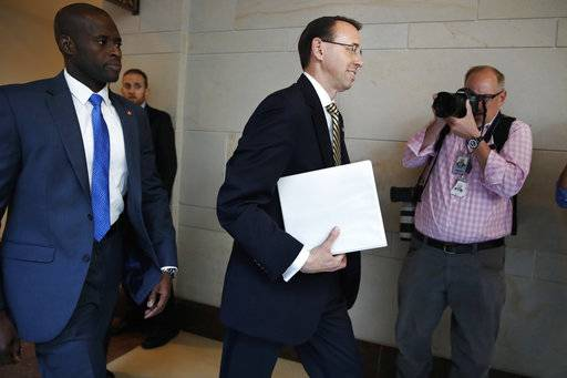 Deputy Attorney General Rod Rosenstein arrives on Capitol Hill in Washington, Thursday, May 18, 2017, for a closed-door meeting with Senators a day after appointing former FBI Director Robert Mueller to oversee the investigation into possible ties between Russia and President Donald Trump's campaign.