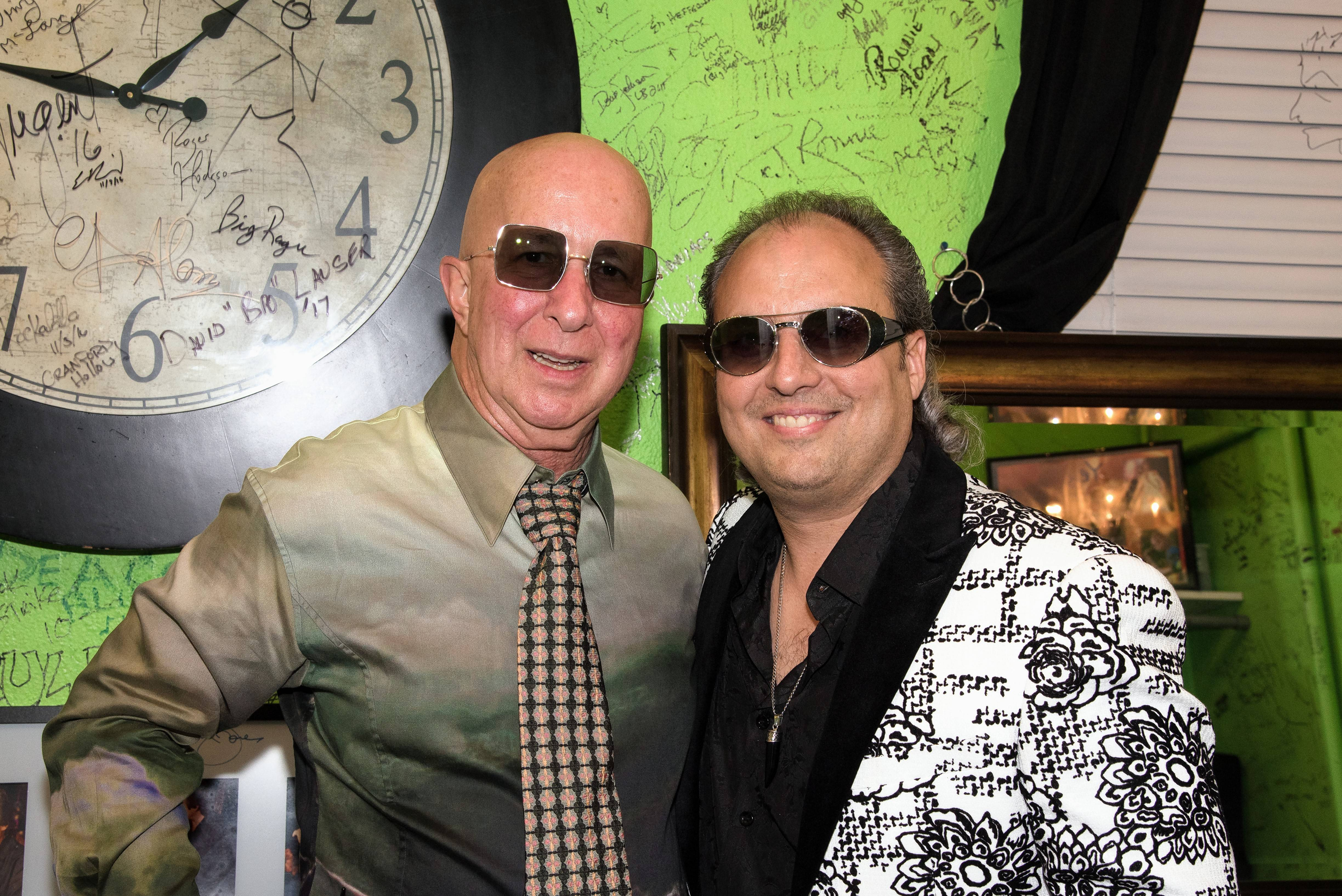 Paul Shaffer, left, musical director extraordinaire who is also known for his wild glasses and clothing, lent a pair of his sunglasses to Ron Onesti last week when he performed at The Arcada.