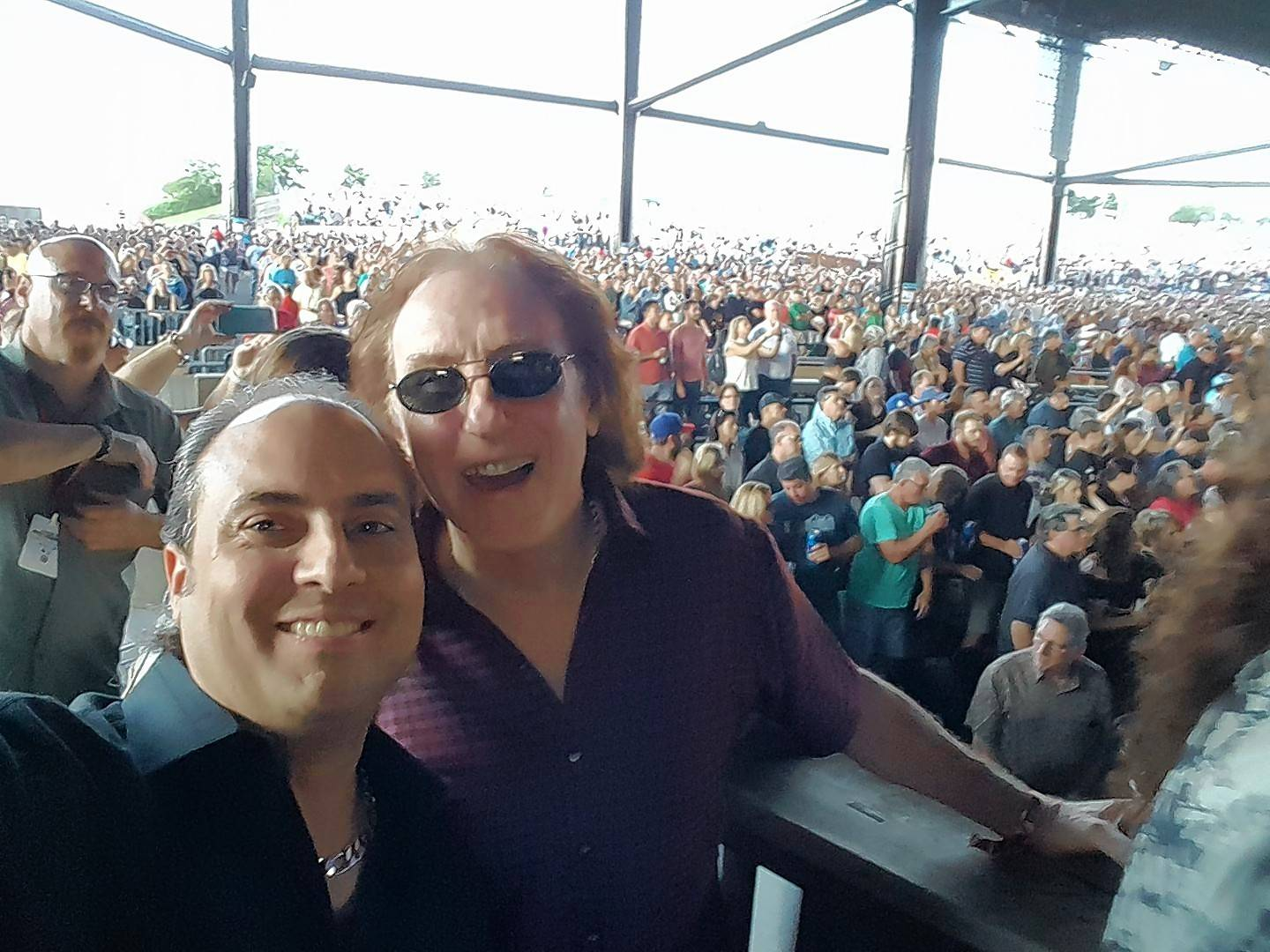 "Ron Onesti, left, watched Paul McCartney's first concert this week with former WINGS' and Moody Blues member Denny Laine. The two drew the attention of their fellow concert-goers, who applauded and yelled out Denny's name when McCartney played ""Band On The Run,"" out of respect to the guy who played guitar on the original recording of this and the other WINGS' hits."