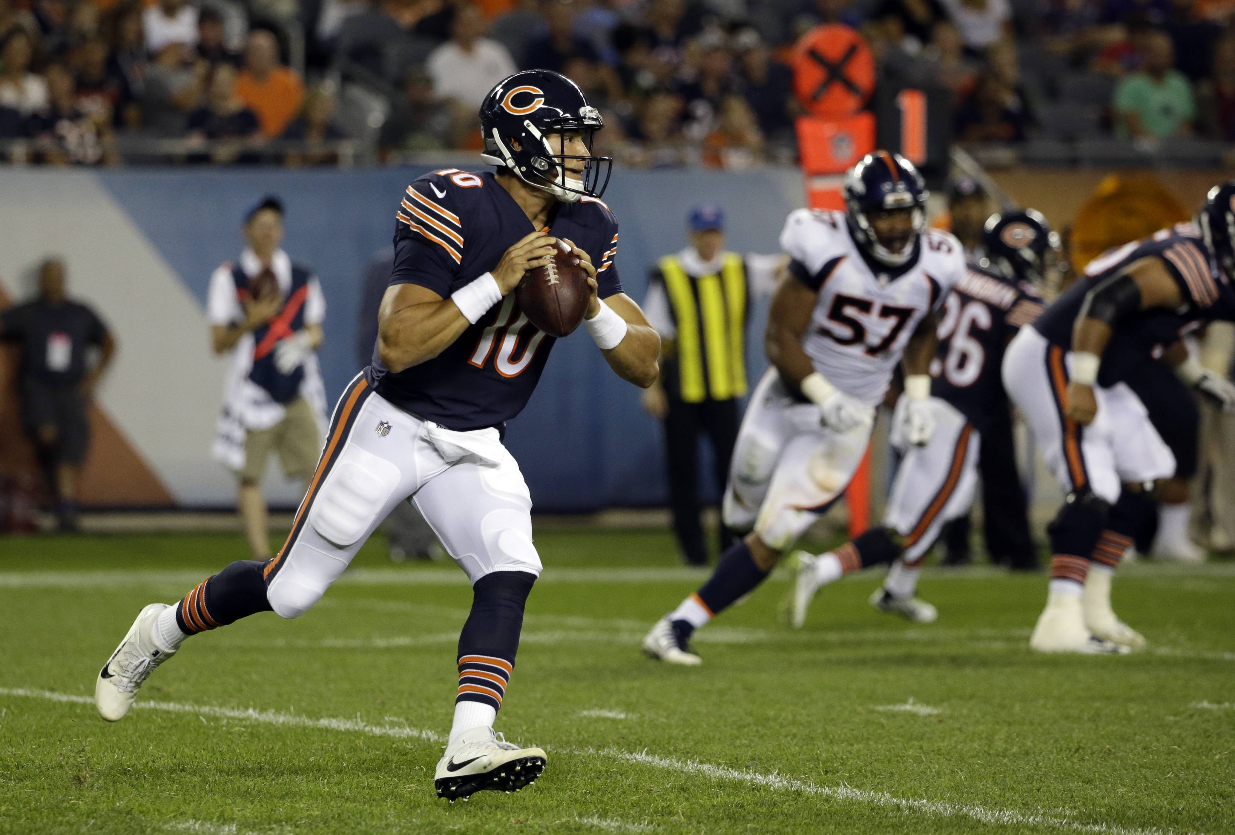Chicago Bears quarterback Mitchell Trubisky (10) scrambles during the second half of an NFL preseason football game against the Denver Broncos, Thursday, Aug. 10, 2017, in Chicago. (AP Photo/Nam Y. Huh)