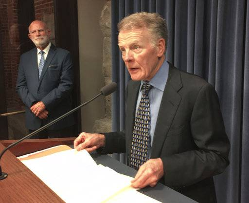 Illinois House Speaker Michael Madigan speaks at a news conference, Wednesday, Aug. 16, 2017 in Springfield, Ill. The speaker said the Illinois House will attempt to reverse Gov. Bruce Rauner's veto of a public school funding revamp next week. Madigan, a Democrat from Chicago, slammed GOP members who would not support the legislation, proposed by Democrats, to incorporate the expansive changes Rauner made in an amendatory veto. (AP Photo/ John O'Connor)