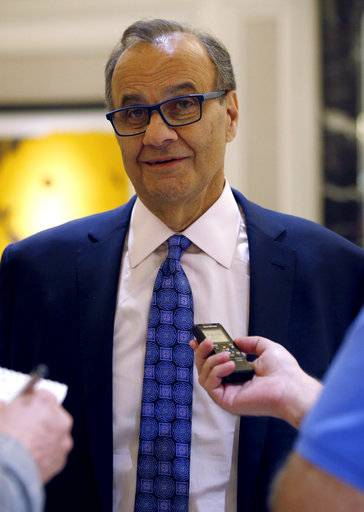 Joe Torre, chief baseball officer of Major League Baseball, talks with reporters following a meeting of Major League Baseball owners, Wednesday, Aug. 16, 2017, in Chicago. (AP Photo/Nam Y. Huh)