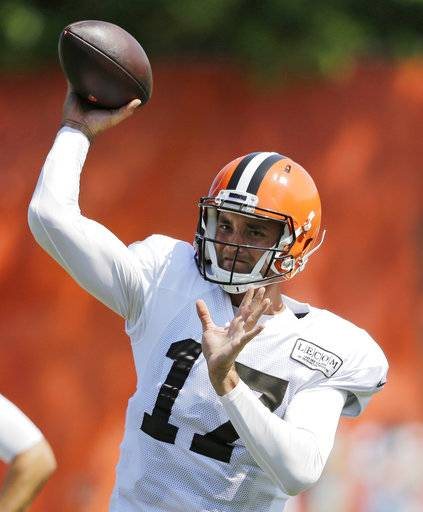 Cleveland Browns quarterback Brock Osweiler (17) throws during practice at the NFL football team's training camp facility, Wednesday, Aug. 16, 2017, in Berea, Ohio. (AP Photo/Tony Dejak)