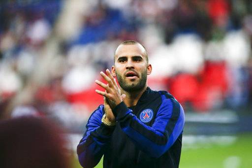 FILE - In this Aug. 21, 2016 file photo, PSG's Jese Rodriguez reacts before the French League One soccer match between PSG and Metz at the Parc des Princes stadium in Paris. Paris Saint-Germain says Wednesday Aug. 16, 2017 it is loaning Spanish forward Jese Rodriguez to Stoke City for this season, without the option to buy him. (AP Photo/Kamil Zihnioglu, File)