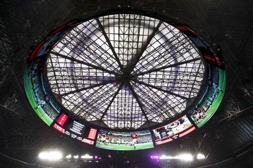 The ceiling of the Mercedes-Benz Stadium, the new home of the Atlanta Falcons football team and the Atlanta United soccer team, is seen in Atlanta, Tuesday, Aug. 15, 2017. The stadium will open to the public for the first time at an Aug. 26 Falcons preseason game. (AP Photo/David Goldman)