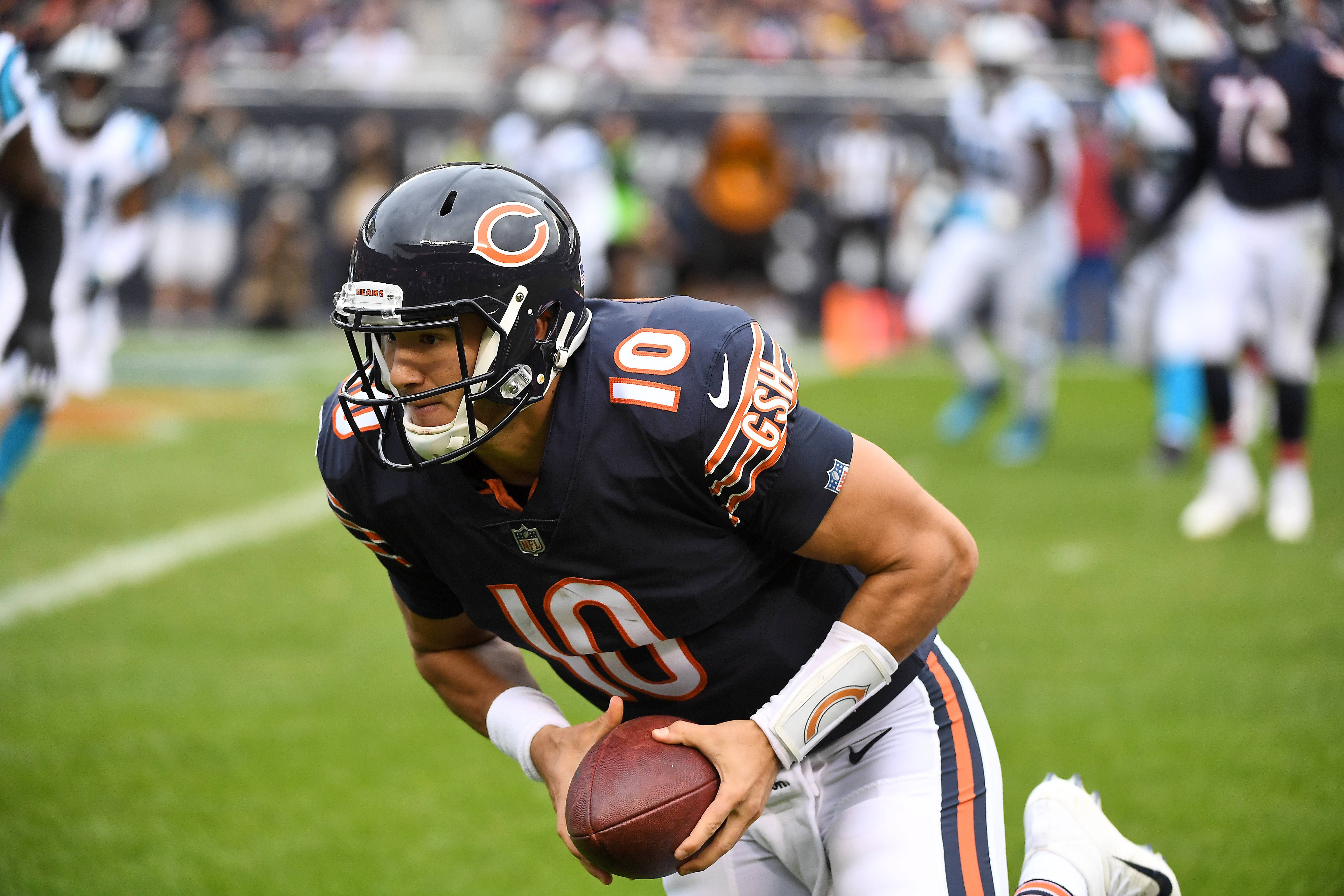 "Chicago Bears quarterback Mitchell Trubisky was not happy with his performance in Sunday's win over Carolina. ""We got to get better in the pass game, and that comes on me,"" he said."