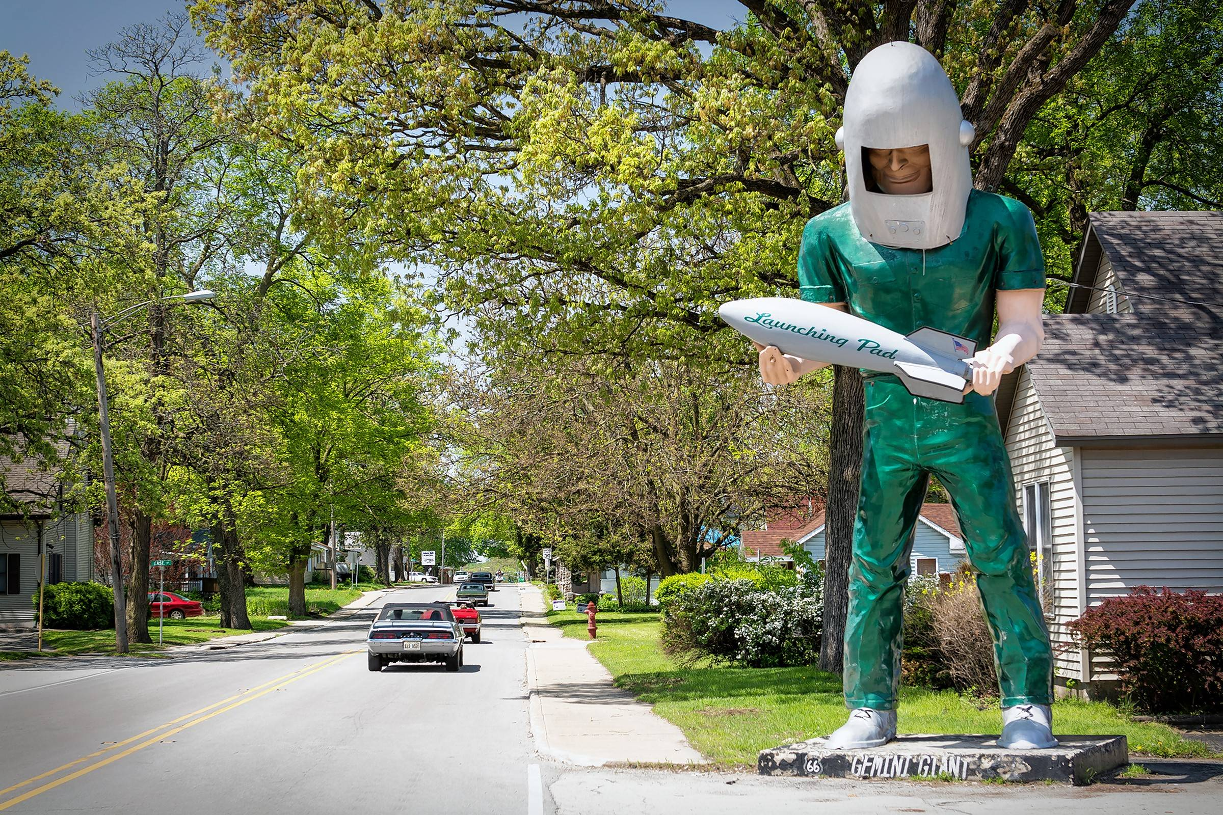 The Gemini Giant is one of the top Route 66 attractions in Illinois.