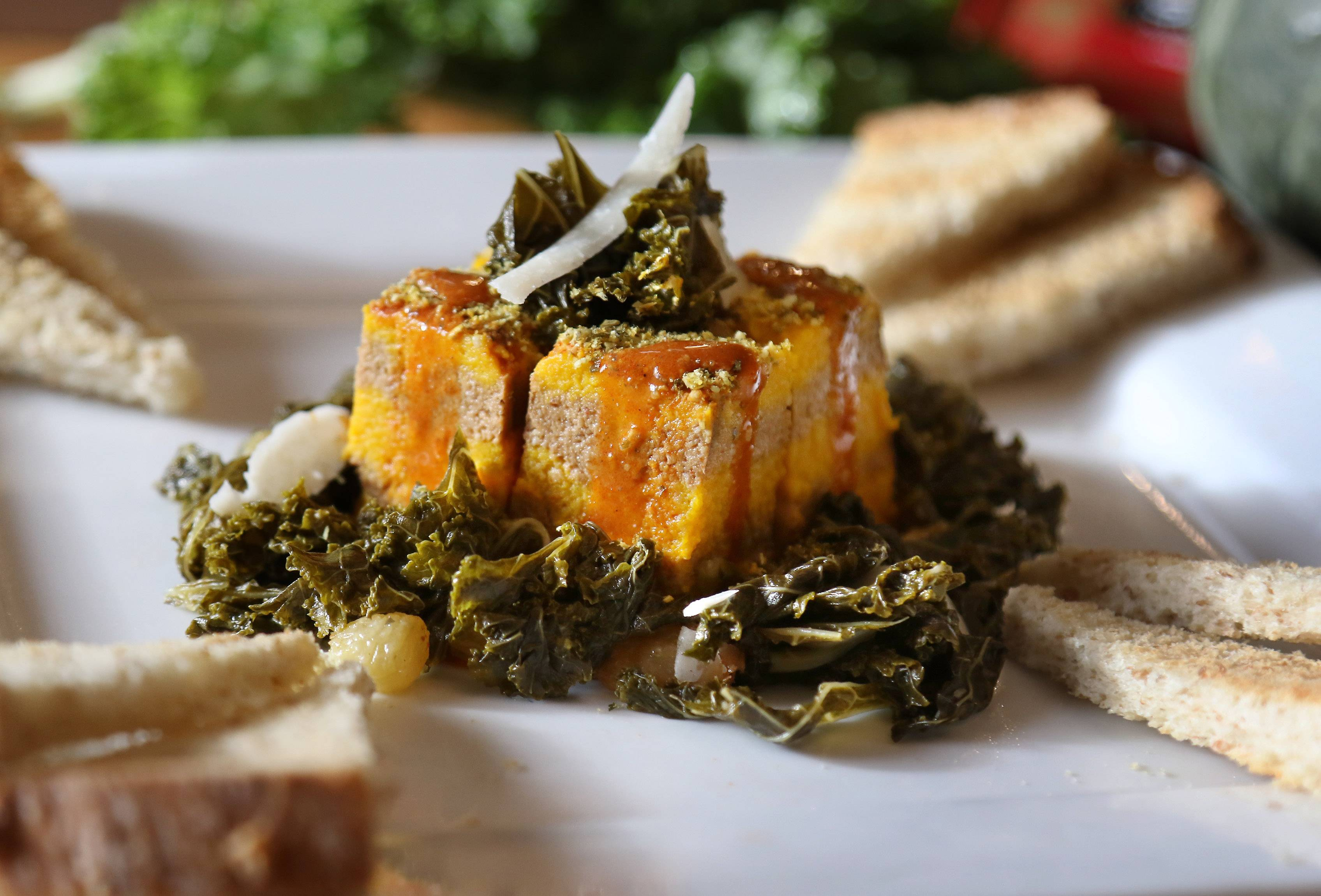 Joe Wachter's Timbale Of Roasted Squash And Sardine Mousseline With Quick-Pickled Kale