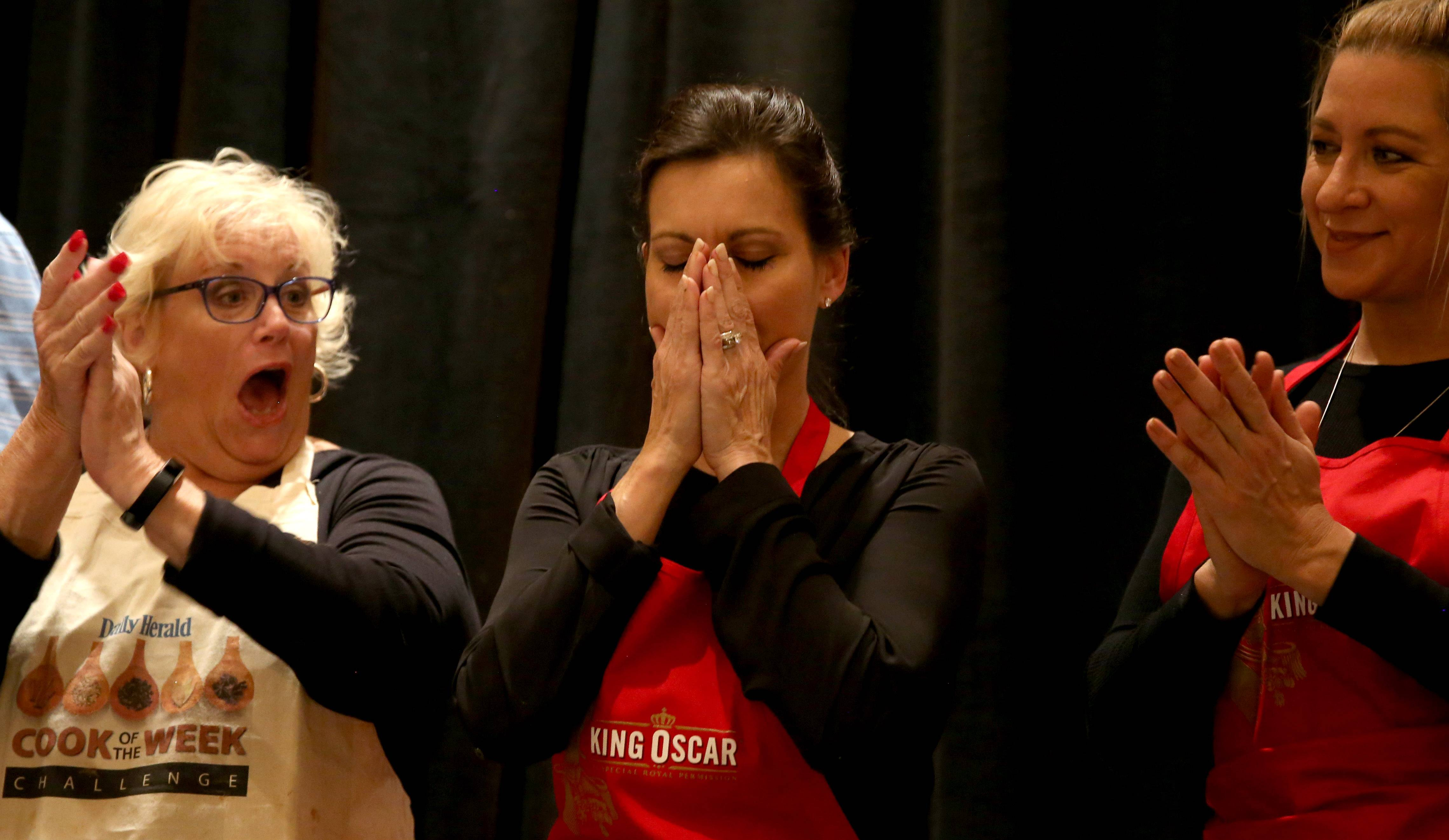 Elizabeth Schuttler of Inverness reacts upon being named winner of the 2017 Daily Herald Cook of the Week Challenge finale during a live cooking competition at the Westin Chicago Northwest in Itasca Monday night.