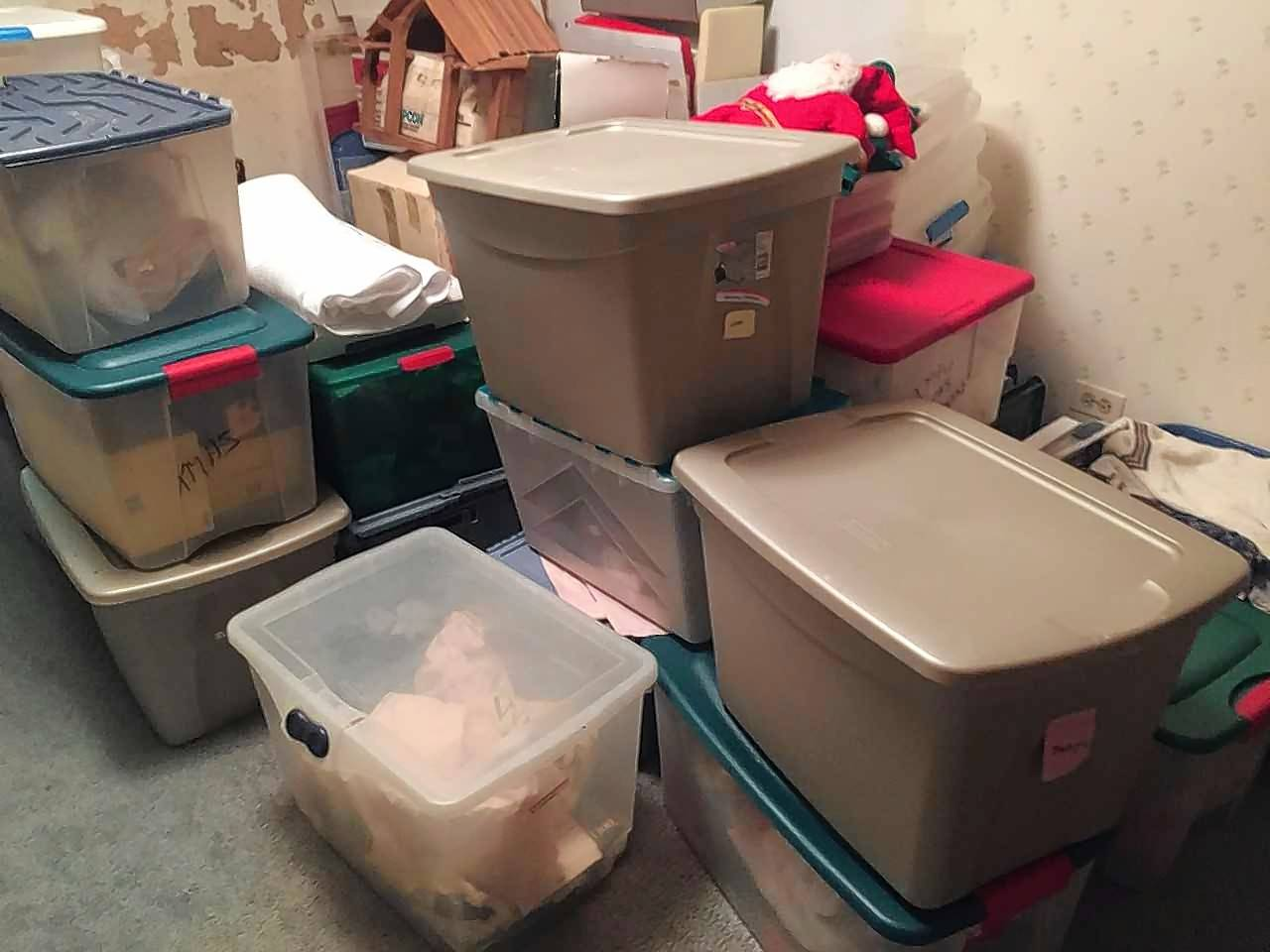 A lot of the Christmas stuff in these boxes pulled from the attic has never been used, or hasn't been used for decades. But dealing with loved ones' stuff often is more emotional than practical.