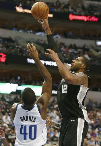 San Antonio Spurs forward LaMarcus Aldridge (12) against Dallas Mavericks defender Harrison Barnes during the second half of an NBA basketball game in Dallas, Tuesday, Nov. 14, 2017. The Spurs won 97-91