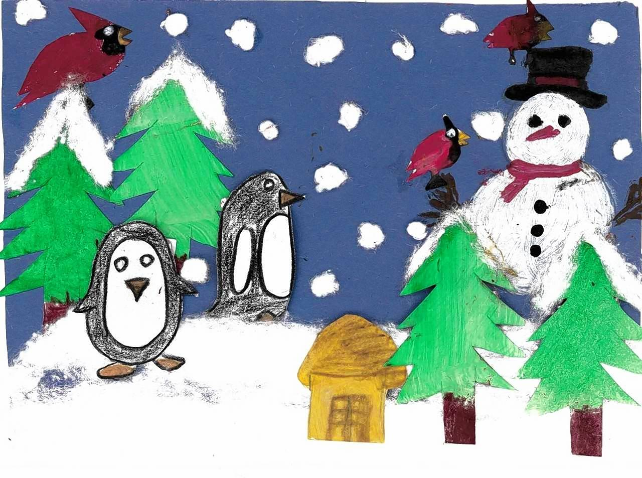 Ashir Arsalan, a second-grader, won first place in the District 62 Winter Card Contest with this entry.