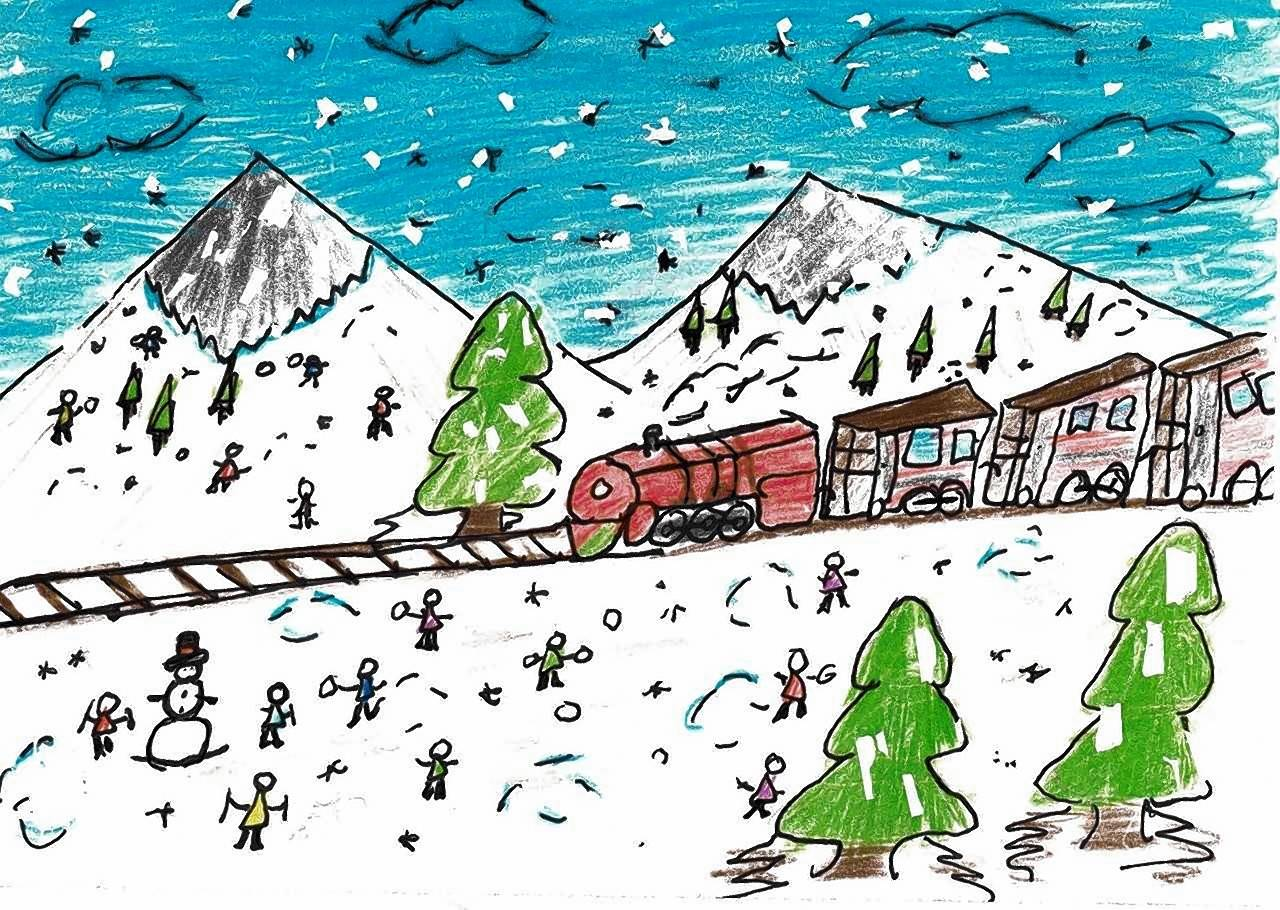 Third place went to second-grader Paul Reyes for this winter scene.