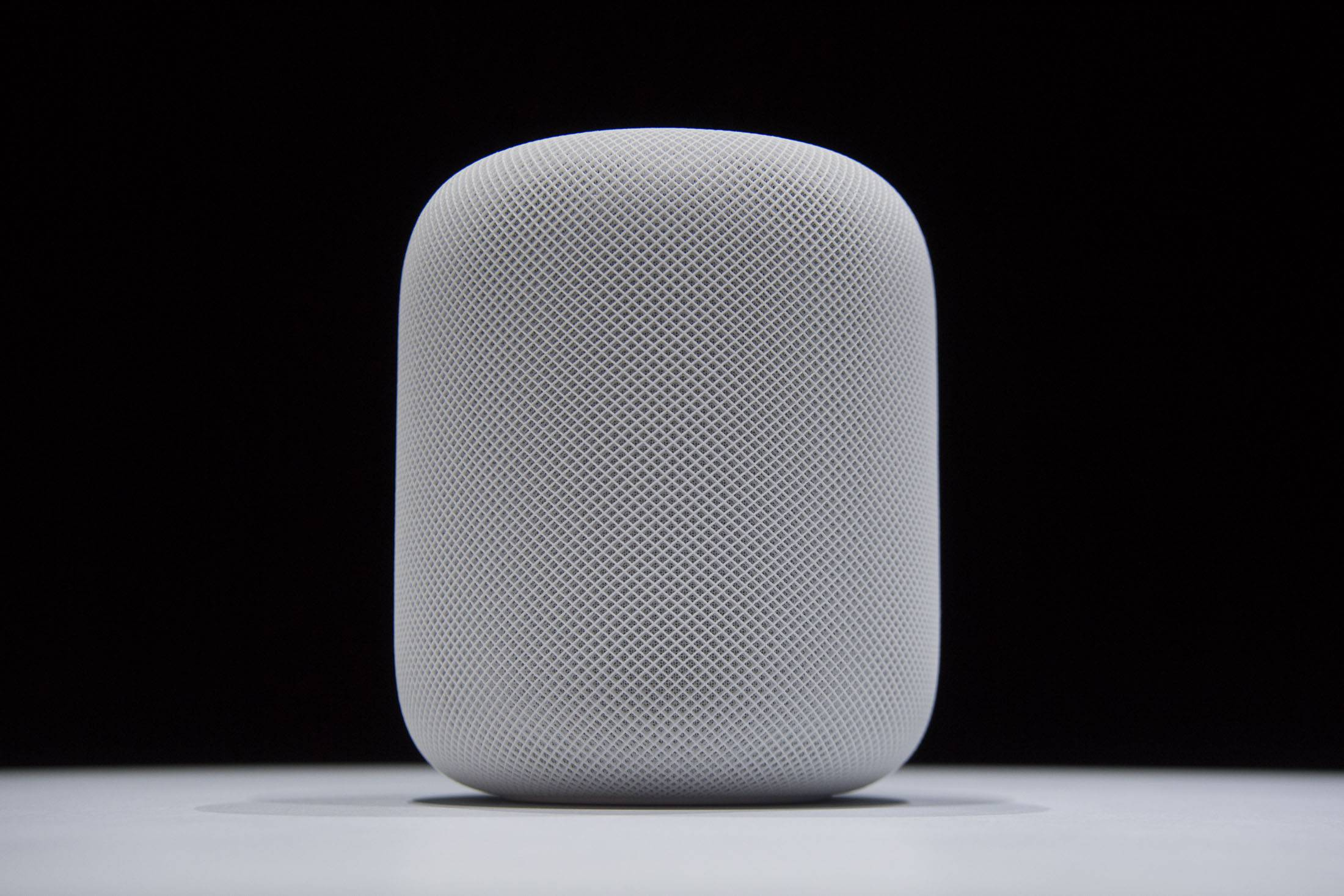 The HomePod speaker on display at the Apple Worldwide Developers Conference in San Jose, California.